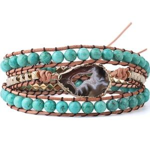 NEW! Agate-Slice Geode Turquoise Leather Bracelet